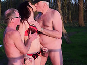 Young nympho Jessica is fucked by two seniors in the park