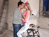 Amateur blond chick reaches the summit with mature man