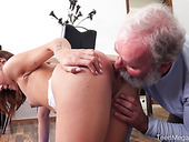 Young chick seduces her step grandpa during yoga workout