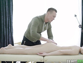 Amateur blonde is losing her anal virginity on the massage table