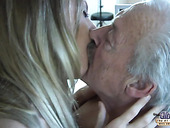 Pensioner fucks pretty young student in mouth and wet tight pussy