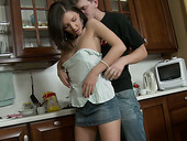 Lascivious brunette teen Ennessi gets horny for Matthew in the kitchen