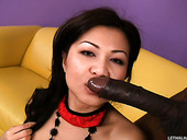 Asian slut Jackie Lin receives huge black facial from Sean Michaels