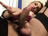 Magnificent blonde ladyman Jackeline Abidala strokes her functioning cock