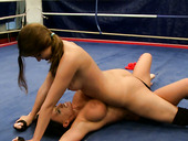 Nude fight of sultry bitches Kerry Louise and Peaches