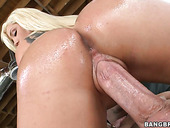 Tattooed butt swallowing cock. Dayna Vendetta getting doggyfucked