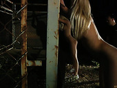 Horny blond nymphos suck a stiff cock on the farm at night