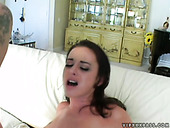 Cute brunette babe Elizabeth Lawrence gets two cocks in her pussy at once