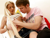 Elegant blonde teen Leenda fucks her young boyfriend