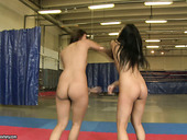 Nude wrestling fun with adorable brunette Asian Sharon Lee