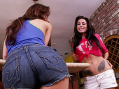 Astonishing beauty Aleksa Nicole and her not less beautiful girlfriend are having passionate lesbian sex in a kitchen
