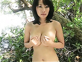 Kinky and sexy black haired Asian Megumi Kagurazaka takes a bath