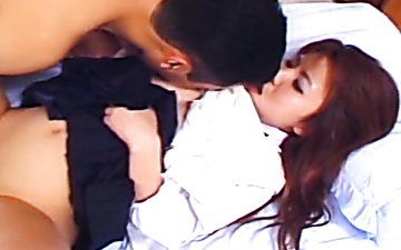 Redhead Japanese girl Yuu Aoki is finger fucked in a passionate Jav HQ sex video