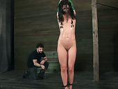 Chained brunette Wenona getting her body teased