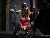 Blindfolded girl Ashley Graham is tortured with vibrator