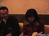 Sextractive Japanese whore Eri Minami sings in karaoke while a rapacious  step daddy eats her pussy