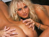 Cuddly blonde milf Gabriella Tchekan participates in group sex photoshoot