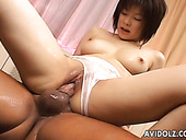 Shaved pussy of Japanese cutie Kasumi Uehara fucked hard from behind