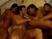 An ardent slut Silvia Lancome gets double penetrated while fucking in a hardcore foursome