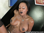Busty ebony Diamond Jackson  in black stockings gets fucked.