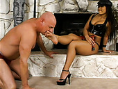 Spoiled and voracious Christina Aguchi hogties a horny dude at home