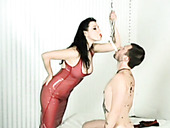BDSM queen Anastasia Pierce punishes skinny guy by whipping him
