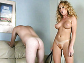 Curly hair blonde cutie Kelli punishing and pleasing this guy