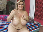 Blond BBW Deedra is mad about masturbating her honey cunt