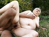 Chubby old slut Anna Mary getting fucked on the lawn