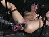 Crying bitch Mia Gold gets her cunt polished in a tough BDSM way