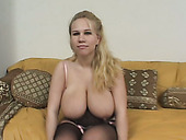 Super busty blonde whore Alyssa West giving blowjob to two guys