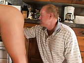 Mature bald dude greedily eats delicious fresh snatch of Chloe Chanel