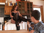 Kinky housewife Morgan Reigns seduces her neighbor for a tough fuck
