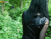 Gothic slutty brunette gonna suck a cock outdoors