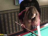 Slim tipsy brunette undresses in billiard hall for winning a dick