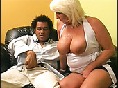 Spunked busty mature bitch Dana Hayes pleases a strong black dick