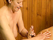 Dick hungry mature blowlerina Stephanie sucks a cock in sauna