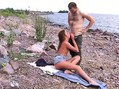 Hairy dude seduces a random chick for blowjob on the beach