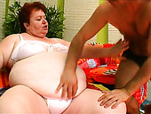 Dirty fat slut Margaret gets her pussy licked by a handsome guy