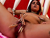 Obedient hussy gets her pussy lips pined with clothes pegs