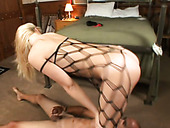 Sextractive blond babe Annette Schwarz gets her toes sucked zealously by foot fetishist