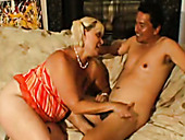 Chubby blonde cougar Pauline giving nice blowjob to mature guy