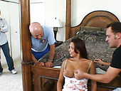 Seductive chick Jade Russell is having passionate oral sex in front of her hubby