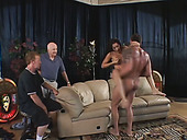 Two horny wrestlers watching sizzling mulatto babe Trixie Cas riding stiff cock