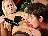 Sex hungry grannies Marketa and Leona fuck each other with dildo