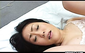 Horny Japanese bitch Kanako Adachi gets her bushy pussy licked and eaten dry