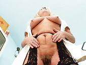 Lustful mom Dorota tickles her grey-fihaired pussy with fingers