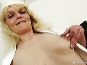 Weird blond and old nurse Isabela desires to please her mature twat for delight