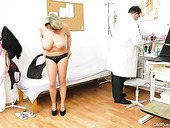 Bosomy mom Stepanka gets her big tits mauled by kinky doctor