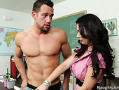 Fucking hot brunette teacher Holly West has nothing against sucking a dick